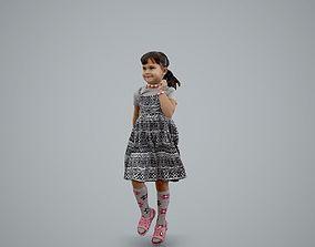 3D Playful Little Girl with a Dress Running