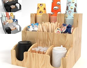 Bar Holder Organizer Paper Cup Dispenser set 3D model