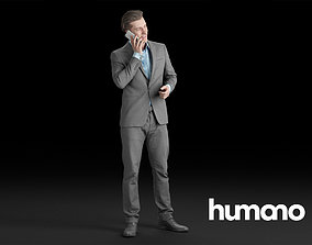 3D Humano Elegant Man Standing and talking on the phone