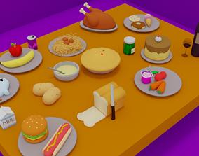 Cartoon Style Assorted foods 3D model cartoon