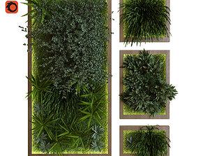 3D asset green wall set 039