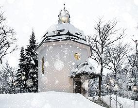 Silent Night Chapel Winter Scene 3D