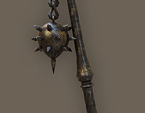 Ornamented Iron Flail 3D model