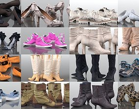 22 Shoes Collection Pumps Boots Sneakers Heels 3D model