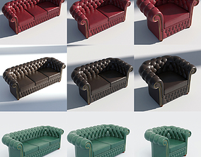 3D Chesterfield Set - Brown Green Red
