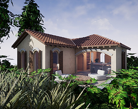 3D asset SHC Spanish Modern House 1 Without Furniture