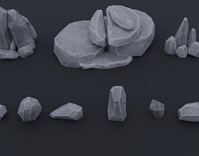 3D model LowPoly stylized rock asset