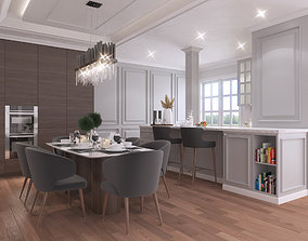 Interior Kitchen and Dining Room Classic 3D model