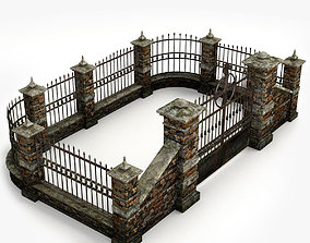 Lowpoly Cemetery Walls pack 3D model