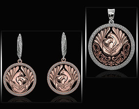 The loving doves pendant and earrings 3D model