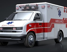 3D asset animated Ambulance Box Truck Rigged C4D