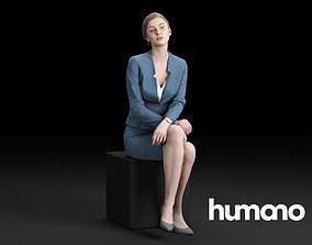 3D Humano Elegant Business Woman in suit Sitting 0112
