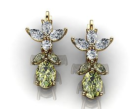 Green Sapphire And Diamond Earrings 3D printable model