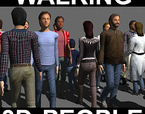 walking animated Walking 3D People - model
