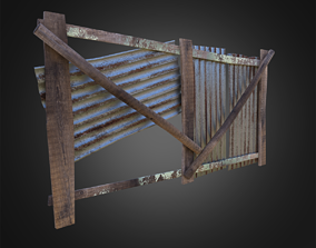 3D model Wooden Fence With Iron Sheet