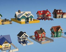 3D asset 3D models - Unity Asset Store - City Houses Toon