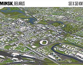 Minsk Belarus 50x50km 3D model