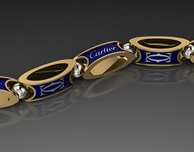 cartier men bracelet necklace 3D print model