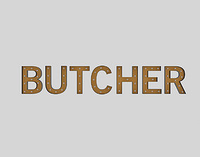 Butcher Sign With Bulb 3D model