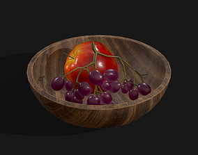 3D model Apple and Grapes Bowl