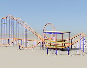Roller coaster 3D model game-ready