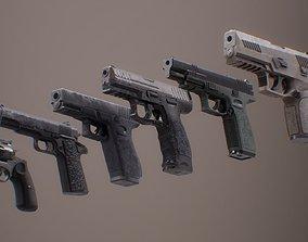 3D model Pistol Set 1 Rigged PBR