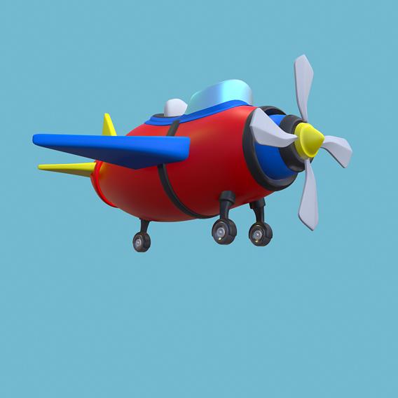 Aircraft Cartoon Low-Poly