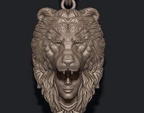 3D print model girl bear pendant