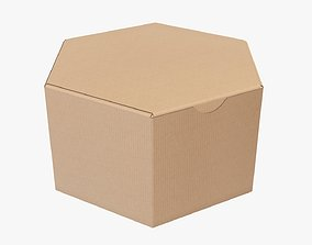 Paper box hexagonal packaging closed 01 corrugated 3D