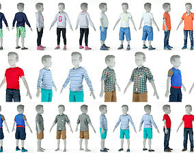 8 Kid Clothing Items 3D model