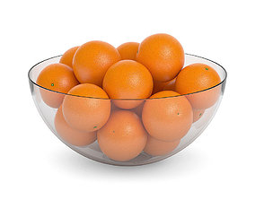 3D Oranges in a glass bowl