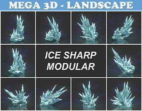 Low poly Sharp Ice Modular 210921 3D asset