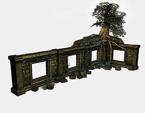 3D model Low poly jungle ruins