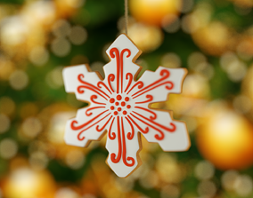 christmas snowflake 3D asset
