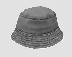 Bucket hat - grey 3D model realtime