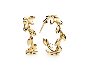 Tiffany Olive Leaf Hoop Earrings 3D print model