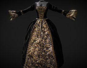 3D model low-poly Antique Dress Gold