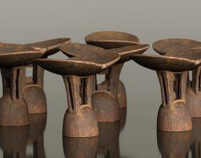3D model VR / AR ready Headrest Africa Wood Furniture Prop