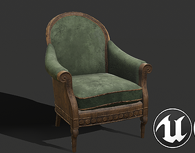 Old Armchair 3D model low-poly PBR