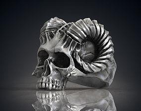 Ring Skull Horned Demon STL OBJ 3d model for 3d printing