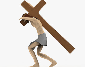 3D model Jesus christ with Cross Rigged