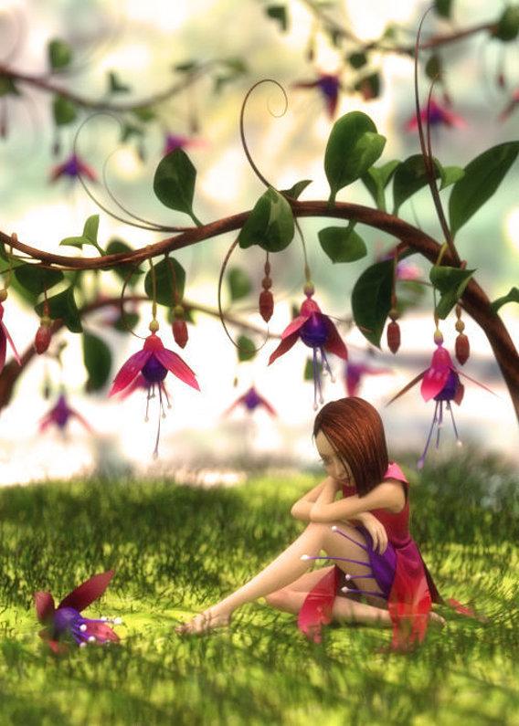 "- Fuchsia - Inspired by ""Mary Barker Fairy Flower Alphabet"""