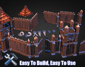 3D asset Wooden Fortress Builder Pack