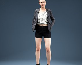 Girl in Blouse Short and Leather Jacket Pockets 3D asset