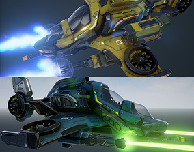 Scout Spaceship - Five Variations and FXs 3D model