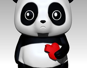 Panda with heart 3D print model