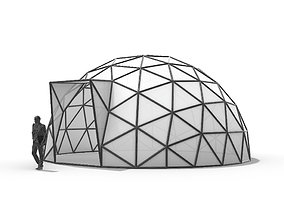 3D model Geodesic Dome with Door Opening and enclosure