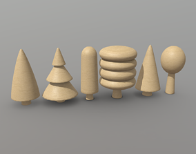 3D asset Wooden Tree Toy 2