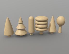 3D asset Wooden Tree Toy 2