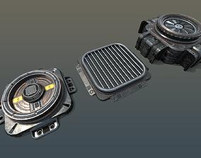 3D model VR / AR ready SciFi Vents